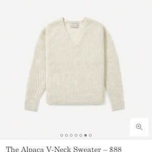 Everlane Almond Alpaca v neck sweater, Size XS,